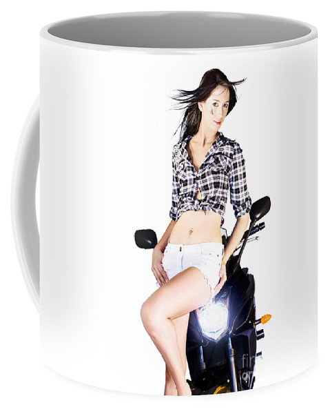 Active Coffee Mug featuring the photograph Sexy Biker Girl by Jorgo Photography - Wall Art Gallery