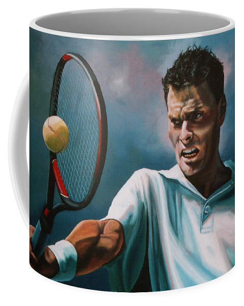Sjeng Schalken Coffee Mug featuring the painting Sjeng Schalken by Paul Meijering