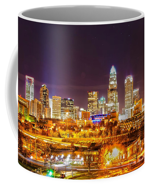 District Coffee Mug featuring the photograph Skyline Of Uptown Charlotte North Carolina At Night by Alex Grichenko