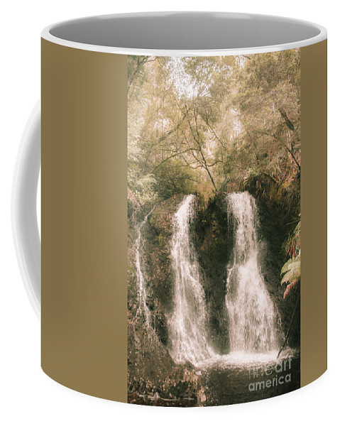 Waterfall Coffee Mug featuring the photograph Soft Vintage Forest Waterfall In Tasmania by Jorgo Photography - Wall Art Gallery