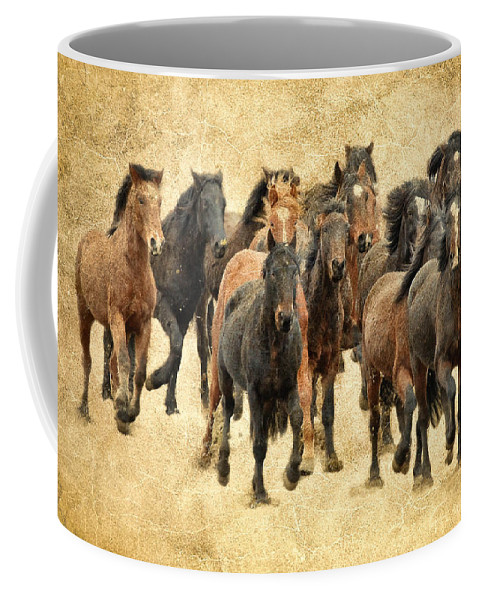 Horses Coffee Mug featuring the photograph Stampede Of Wild Horses by Athena Mckinzie