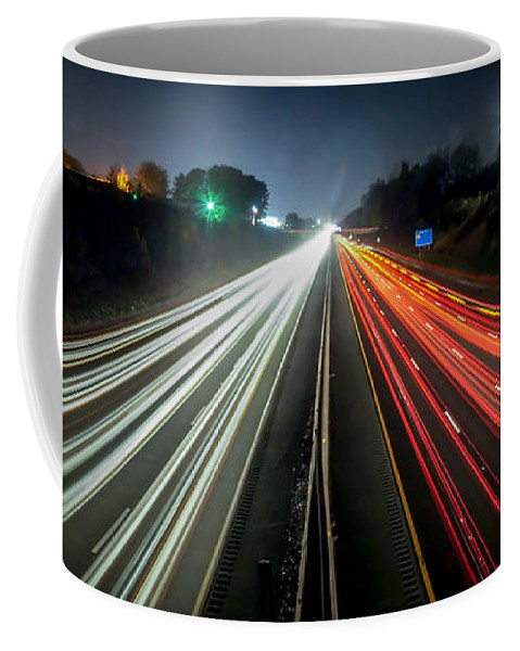 Blurred Coffee Mug featuring the photograph Standing In Car On Side Of The Road At Night In The City by Alex Grichenko