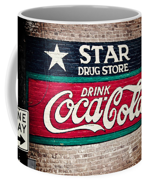 Sign Coffee Mug featuring the photograph Star Drug Store Wall Sign by Scott Pellegrin