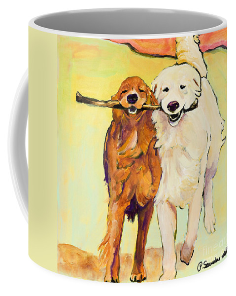 Pat Saunders-white Coffee Mug featuring the painting Stick With Me by Pat Saunders-White