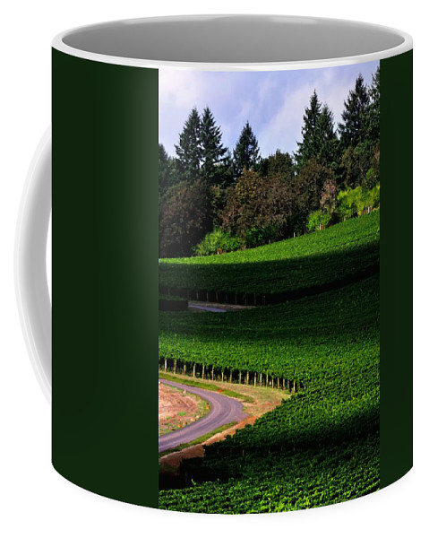 Stoller Coffee Mug featuring the photograph Stoller Vineyard Roads 19050 by Jerry Sodorff
