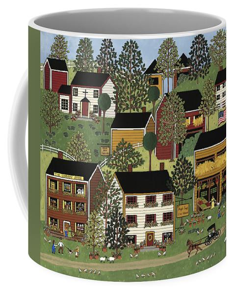 Folk Art Coffee Mug featuring the painting Summer Hills by Medana Gabbard