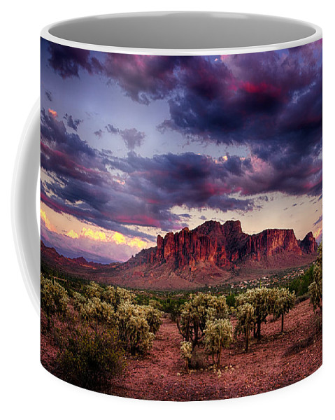 Sunset Coffee Mug featuring the photograph Sunset At The Superstitions by Saija Lehtonen