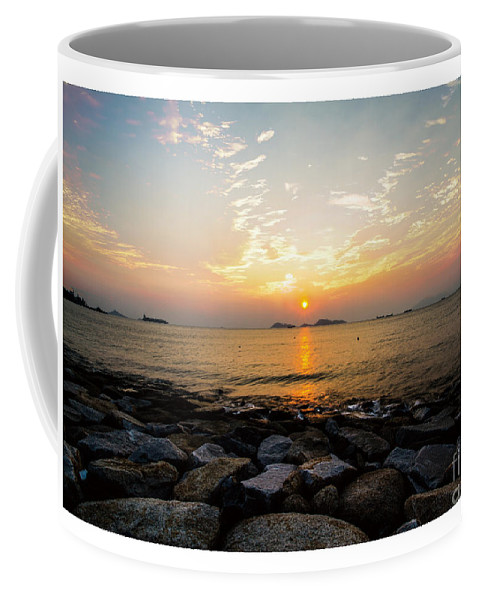 Blue Coffee Mug featuring the painting Sunset by Philip HP Wong