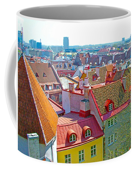 Tallinn From Plaza In Upper Old Town Tallinn Coffee Mug featuring the photograph Tallinn From Plaza In Upper Old Town-estonia by Ruth Hager