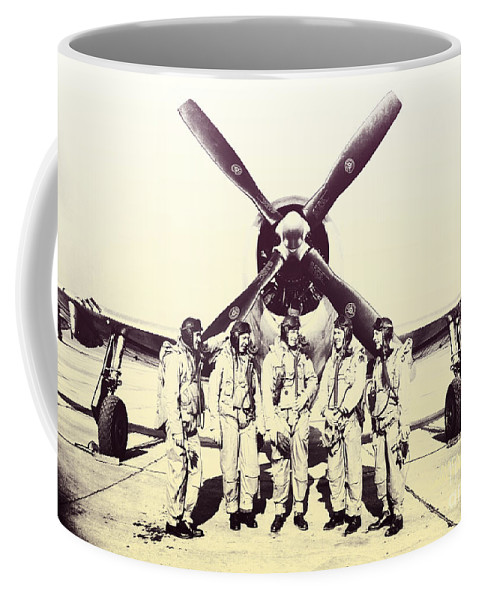 Test Pilots Coffee Mug featuring the photograph Test Pilots With P-47 Thunderbolt Fighter by R Muirhead Art