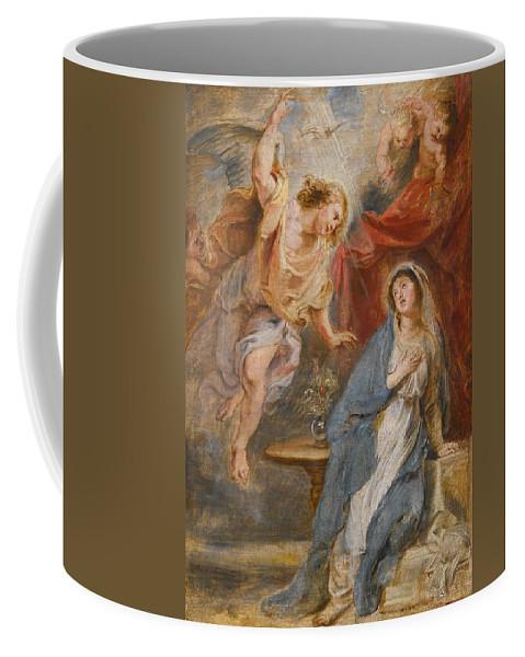 Peter Paul Rubens Coffee Mug featuring the painting The Annunciation by Peter Paul Rubens