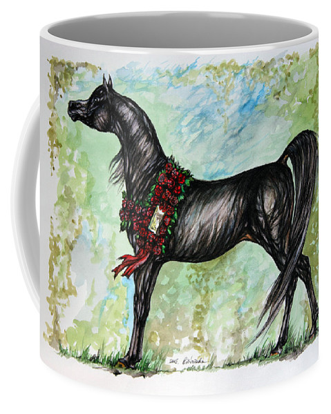 Horse Coffee Mug featuring the painting The Champion by Angel Ciesniarska