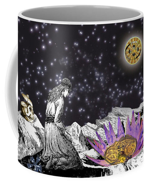 Young Woman Coffee Mug featuring the digital art The Clock's Petals Open by Lisa Yount