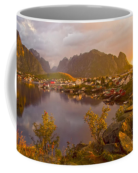 Country Coffee Mug featuring the photograph The Day Begins In Reine by Heiko Koehrer-Wagner
