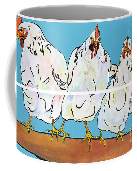 Pat Saunders-white Coffee Mug featuring the painting The Four Clucks by Pat Saunders-White