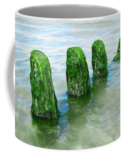 Beatles Coffee Mug featuring the photograph The Green Jetty by Hannes Cmarits