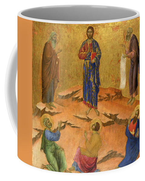 Duccio Coffee Mug featuring the painting The Transfiguration by Duccio