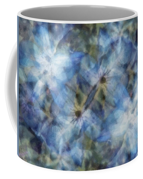 Clematis Coffee Mug featuring the painting Tissue Paper Blues by RC DeWinter