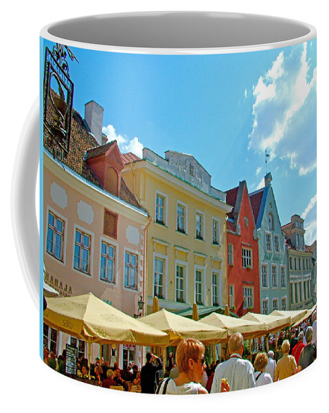 Busy Town Square In Old Town Tallinn Coffee Mug featuring the photograph Town Square In Old Town Tallinn-estonia by Ruth Hager
