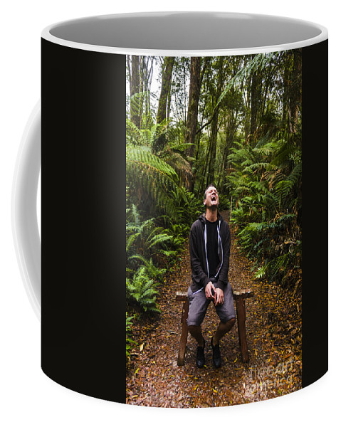 Carefree Coffee Mug featuring the photograph Travel Man Laughing In Tasmania Rainforest by Jorgo Photography - Wall Art Gallery