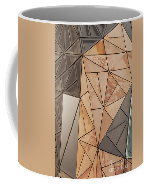 Melbourne Australia Federation Square Building Buildings Structure Structures City Cities Cityscape Sandstone Facade Cityscapes Architecture Bates Smart Coffee Mug featuring the photograph Triangular Design by Bob Phillips