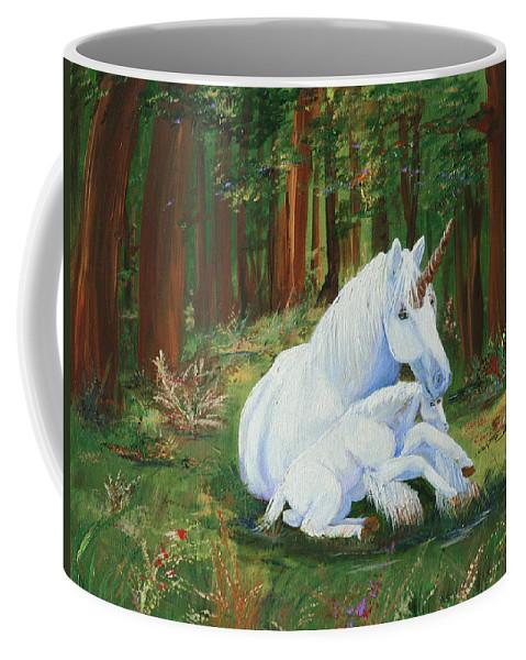 Unicorns Lap Coffee Mug featuring the painting Unicorns Lap by Gail Daley