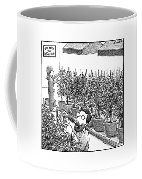 Weed Coffee Mug featuring the drawing New Yorker November 21st, 2016 by Harry Bliss
