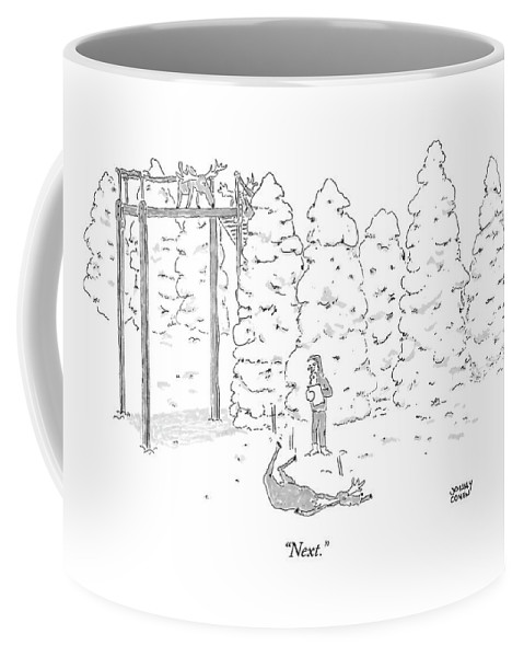 Problems Reindeer Christmas Audition Dead Death Fallen Fell Animals Animal  (santa Auditioning Reindeer's Flying Ability.) 121688 Jch Jonny Cohen Coffee Mug featuring the drawing Next by Jonny Cohen