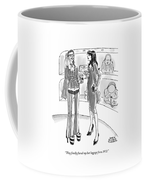 Luggage Coffee Mug featuring the drawing They Finally Found My Lost Luggage From 1972 by Marisa Acocella Marchetto