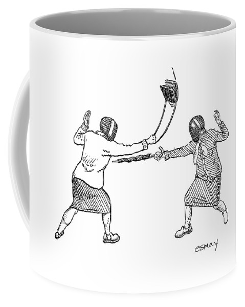 Sports Fencing Word Play   (two Women In Fencing Masks Dueling With An Umbrella And A Purse.) 122558 Res Rob Esmay Coffee Mug featuring the drawing New Yorker June 19th, 2006 by Rob Esmay