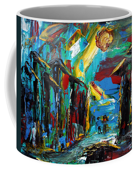 Abstract Coffee Mug featuring the painting Urban Melting Pot by Donna Blackhall