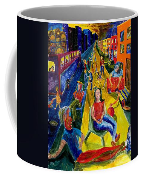 Urban Painting Coffee Mug featuring the painting Urban Street People by Walt Brodis