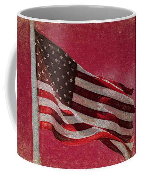 Us Flag Coffee Mug featuring the digital art Us Flag by Cathy Anderson