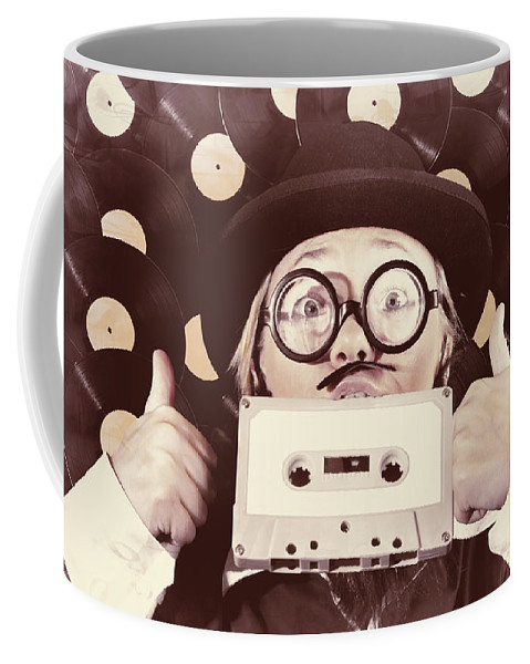 Music Coffee Mug featuring the photograph Vintage Music Woman Giving Thumb Up To Retro Songs by Jorgo Photography - Wall Art Gallery