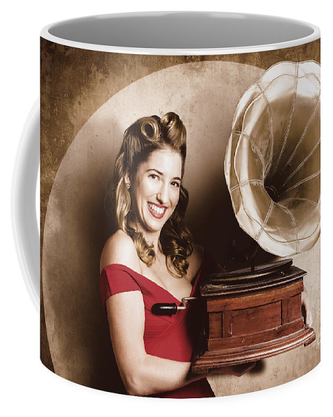 Audio Coffee Mug featuring the photograph Vintage Pin-up Girl Listening To Record Player by Jorgo Photography - Wall Art Gallery