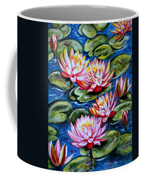 Water Lilies Coffee Mug featuring the painting Water Lilies by Harsh Malik