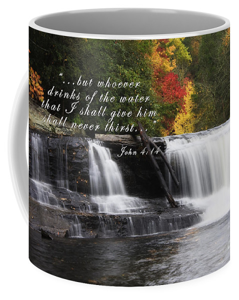 Hooker Falls Coffee Mug featuring the photograph Waterfall With Scripture by Jill Lang