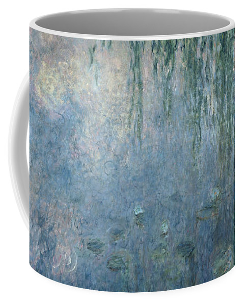 Blue Coffee Mug featuring the painting Waterlilies Morning with Weeping Willows by Claude Monet
