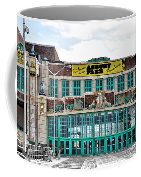 Welcome Coffee Mug featuring the photograph Welcome To The Asbury Park Boardwalk by Bill Cannon