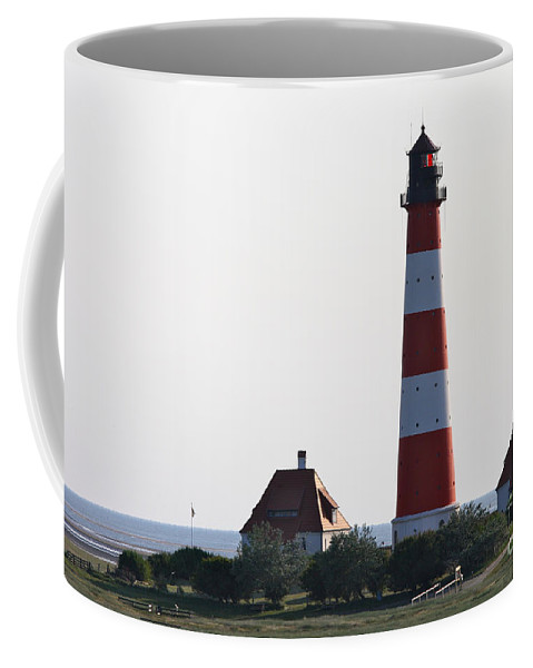 Lighthouse Coffee Mug featuring the photograph Westerhebersand Lighthouse - North Sea - Germany by Christiane Schulze Art And Photography