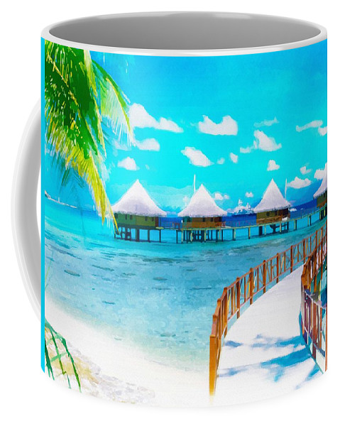 Water Coffee Mug featuring the digital art White Bay by Don Kuing