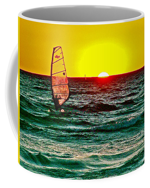 Windsurfer At Sunset On Lake Michigan From Empire Coffee Mug featuring the photograph Windsurfer At Sunset On Lake Michigan From Empire-michigan by Ruth Hager
