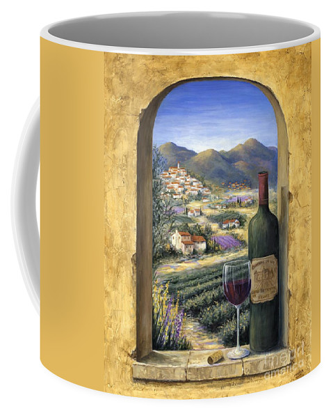 Wine Coffee Mug featuring the painting Wine and Lavender by Marilyn Dunlap