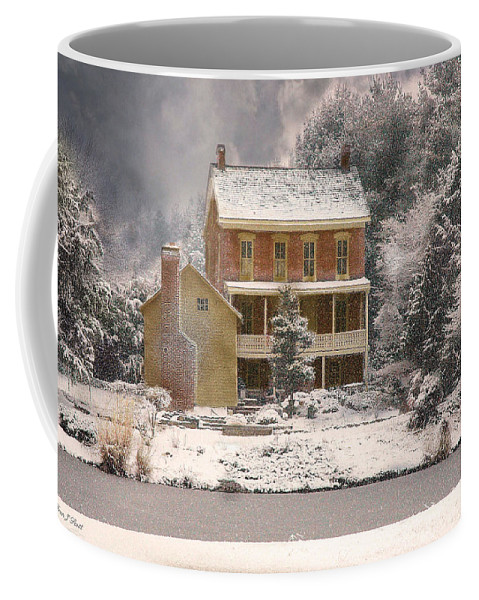 Farm Coffee Mug featuring the photograph Winter Farm House by Fran J Scott