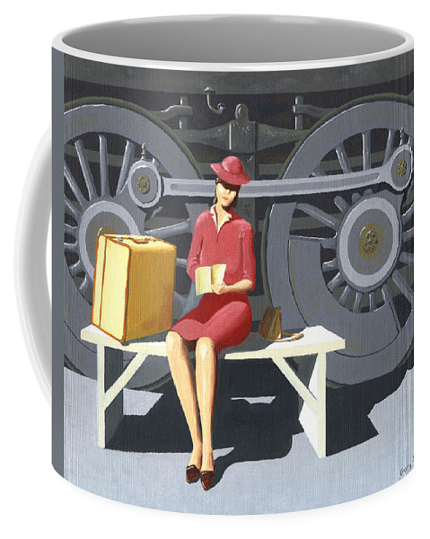 Woman Coffee Mug featuring the painting Woman With Locomotive by Gary Giacomelli