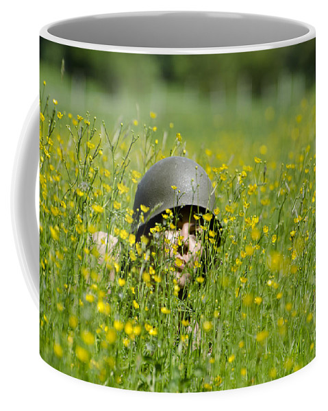 Woman Coffee Mug featuring the photograph Woman With Military Helmet by Mats Silvan