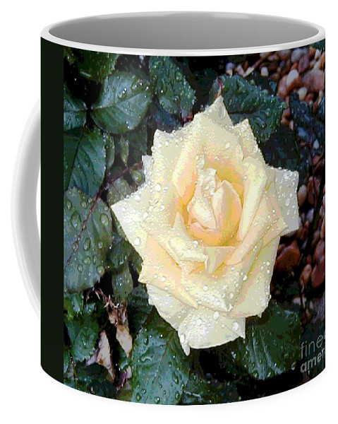 Digital Coffee Mug featuring the digital art Yellow Rose At Dawn by Alys Caviness-Gober