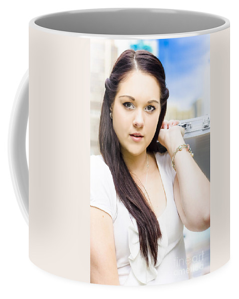 Attractive Coffee Mug featuring the photograph Young Pretty Business Travel Woman With Luggage by Jorgo Photography - Wall Art Gallery
