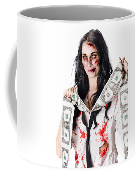American Coffee Mug featuring the photograph Zombie Banker With Forged American Dollars by Jorgo Photography - Wall Art Gallery