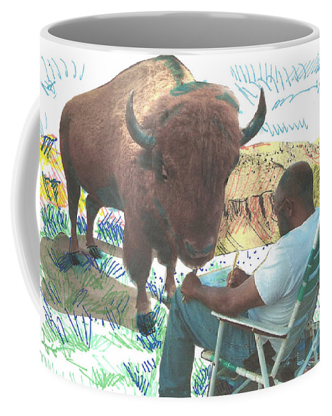 Buffalo Coffee Mug featuring the mixed media Zsup by Charles M Williams